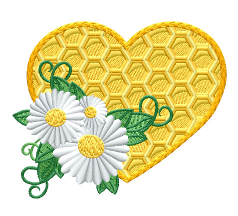 Bees Heart Free Embroidery Design