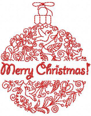 Christmas Greeting Ornament 1 Free machine Embroidery Design