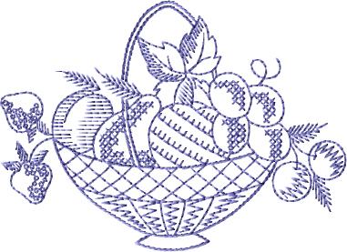 Fruit Bucket Free Embroidery Design