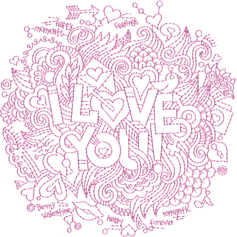 I Love You Free Embroidery Design