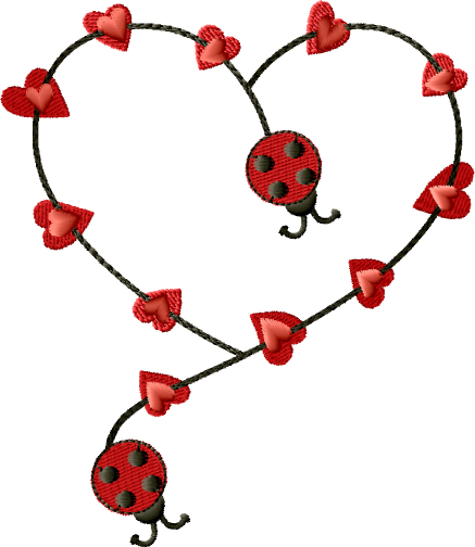 Ladybugs Heart Free Embroidery Design