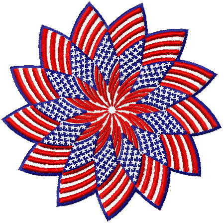 Patriotic Star Patch  Free Embroidery Design