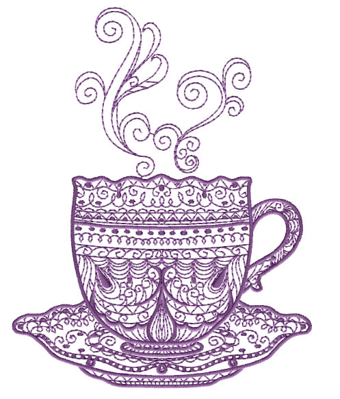 Tea Time Free Embroidery Design