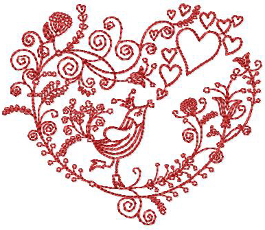 Valentine Bird Free Embroidery Design
