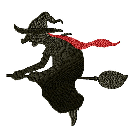 Witch on the Broom Free Embroidery Design