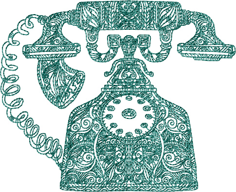 Old Phone Free Embroidery Design
